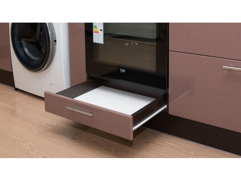 Арина - угловая кухня с глянцевым покрытием из МДФ в пленке ПВХ желто-коричневого цвета