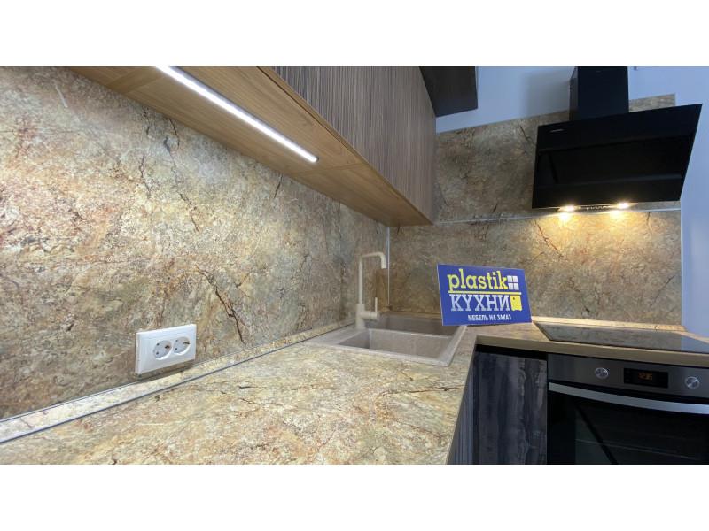 """Серая, угловая кухня без ручек под потолок из пластика """"Гамильтон"""""""