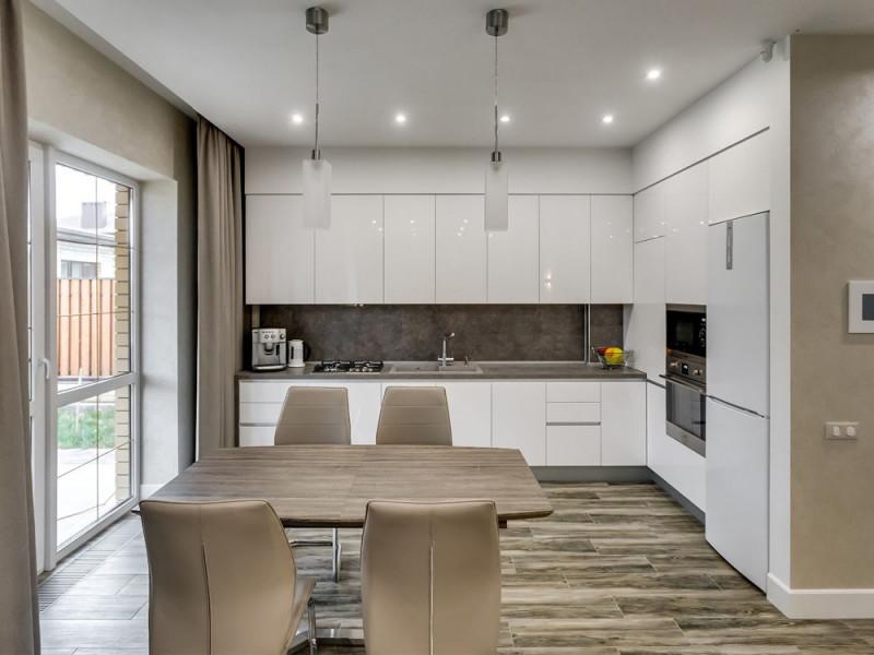 Гола — встраиваемая, глянцевая, угловая кухня белого цвета без ручек в пластике Alviс Luxe
