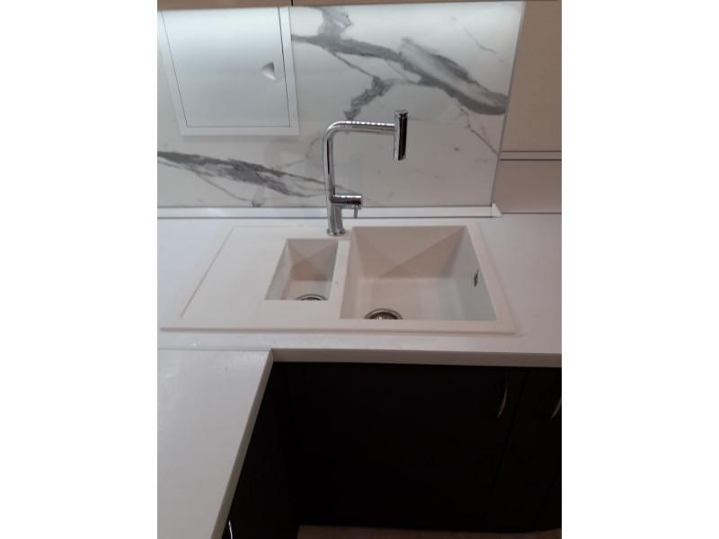 Угловая, двухъярусная, современная, глянцевая кухня из МДФ в пленке ПВХ — Кейт