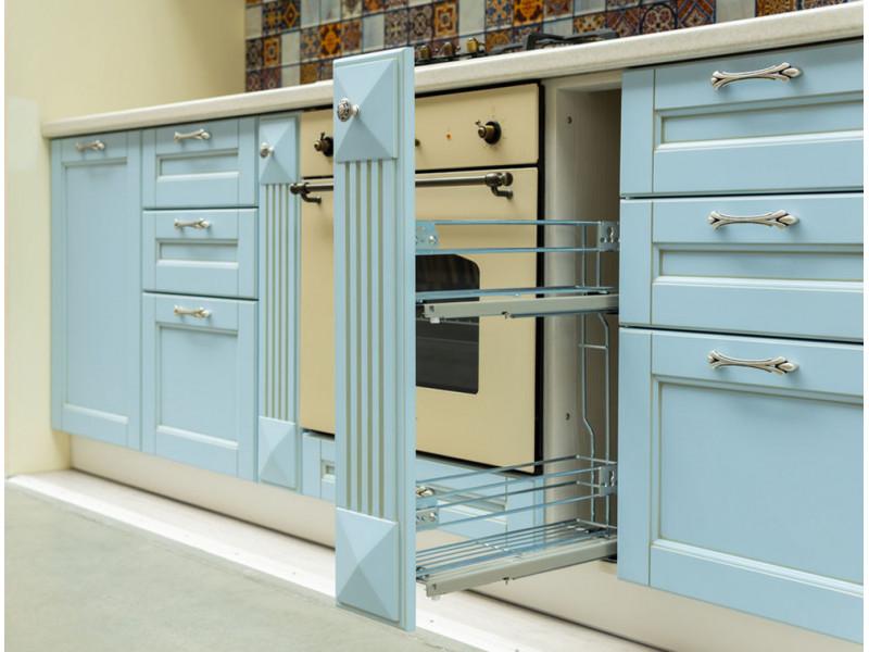 Кантри 2 — прямая, двухъярусная кухня голубого цвета из МДФ в пленке ПВХ