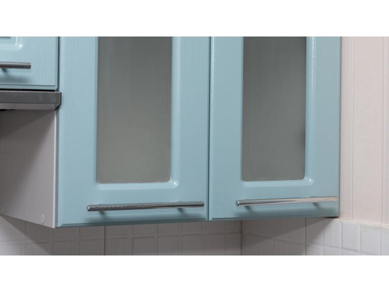 Глория — угловая кухня голубого цвета из МДФ в пленке ПВХ