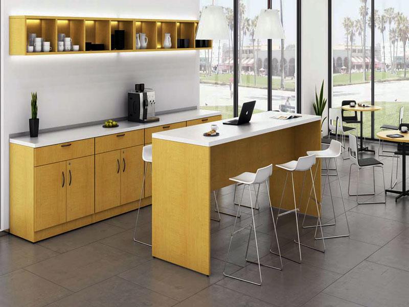 """Желтая, прямая, кухня для офиса из МДФ в пленке ПВХ """"Алекс"""""""